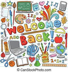 escuela, doodles, aula, suministros
