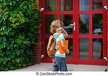 escuela, door., espalda, miró, tiene, alegre, colegial