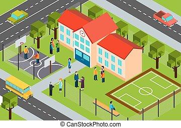 escuela, edificio, área, isométrico, composición, cartel