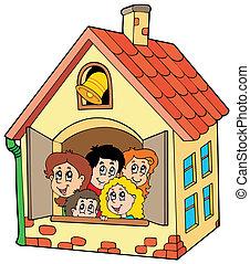 escuela, edificio, con, niños