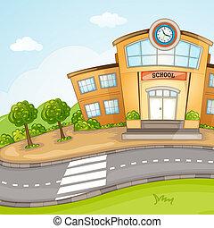 escuela, edificio.