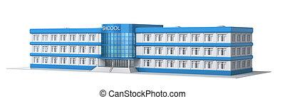 escuela, edificio., vista exterior, de, school., 3d, ilustración