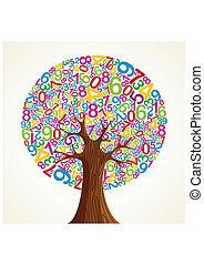 escuela, educación, concepto, árbol, mano