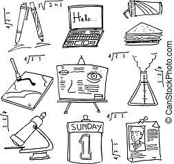 escuela, educación, doodles, colección