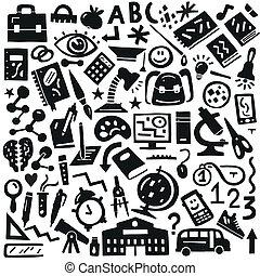 escuela, educación, -, doodles, conjunto