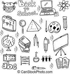 escuela, educación, doodles, conjunto, vector, arte