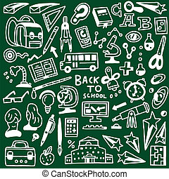 escuela, educación, -, doodles