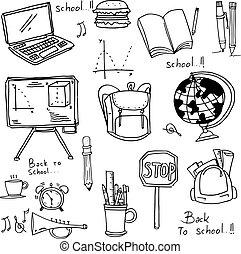 escuela, educación, doodles, mano, empate