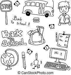 escuela, educación, doodles, vector, arte