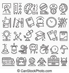 escuela, educación, -, iconos, conjunto
