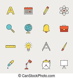 escuela, educación, línea plana, iconos