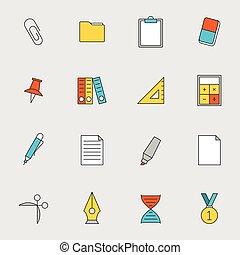 escuela, educación, línea plana, iconos, vol, 2