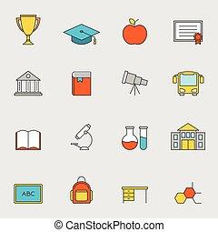 escuela, educación, línea plana, iconos, vol, 3