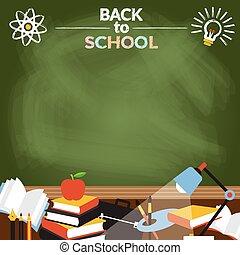 escuela, educación, objetos, marco