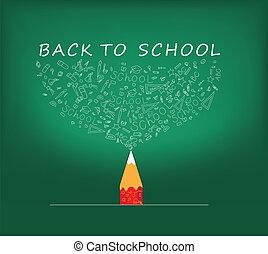 escuela, educación, penc, espalda, iconos