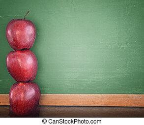 escuela, educación, pizarra, con, manzanas