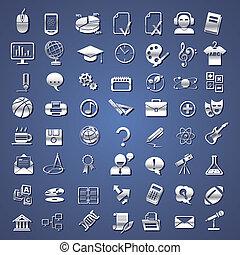 escuela, educación, plata, colegio, iconos