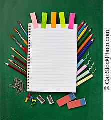 escuela, educación, suministros, artículos