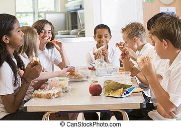escuela, el gozar, su, almuerzo, alumnos, cafetería