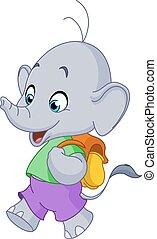 escuela, elefante