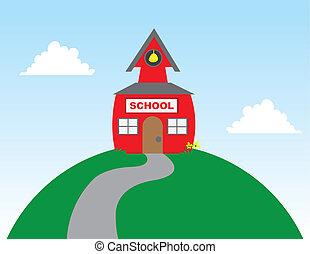 escuela, en, colina