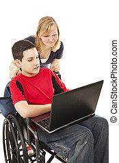 escuela, en línea, niños