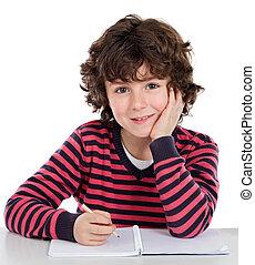 escuela, escritura, adorable, niño