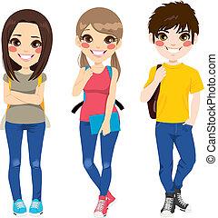 escuela, espalda, adolescentes
