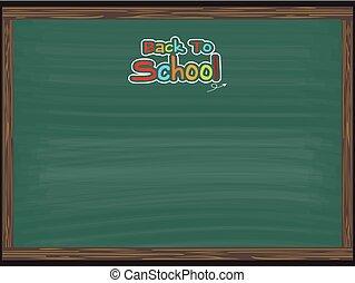 escuela, espalda, plano de fondo, pizarra