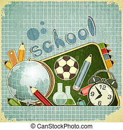 escuela, espalda, tarjeta
