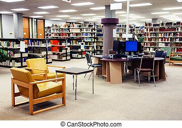 escuela, estación, computadora, biblioteca