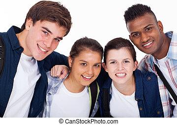 escuela, estudiantes, alto, primer plano, retrato, sonriente