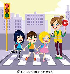 escuela, estudiantes, calle de la travesía