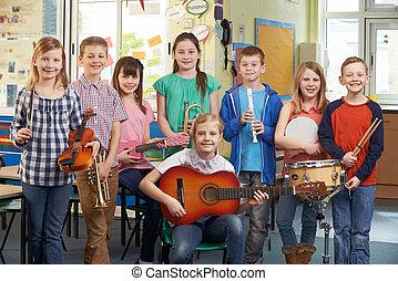 escuela, estudiantes, orquesta, juntos, retrato, juego