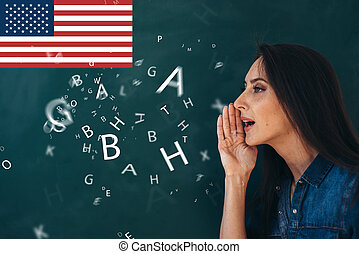 escuela, estudiar, ourse, language., extranjero, inglés, ...