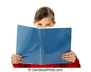 escuela, estudio, libro, lectura de la muchacha, inteligente