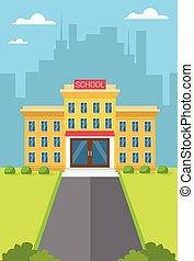 escuela, exterior de edificio, opinión de la ciudad