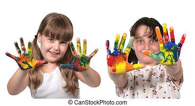 escuela, feliz, pintura, niños, manos