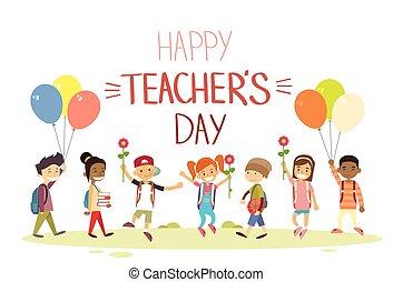 escuela, flores, grupo, saludo, niños, día, asimiento, ...