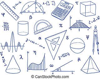 escuela, -, formas, suministros, matemáticas, geométrico, ...