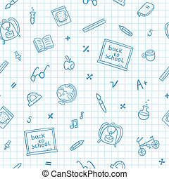escuela, garabato, patrón, en, un, papel cuaderno
