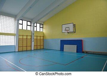 escuela, gimnasio, interior