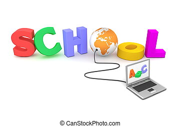 escuela, globo, -, ii, alambró, naranja, colorido