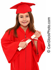 escuela graduada, orgulloso, niña, niño