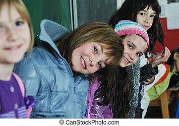escuela, grupo, niños, feliz