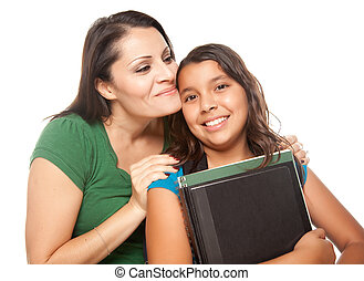 escuela, hija, orgulloso, hispano, madre, listo