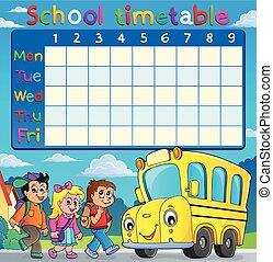 escuela, horario, con, niños, y, autobús