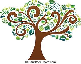 escuela, iconos, árbol, -, espalda, educación