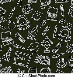 escuela, iconos, patrón, seamless, mano, pizarra, dibujado