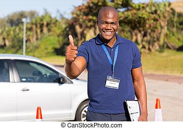 escuela, instructor, conducción, africano
